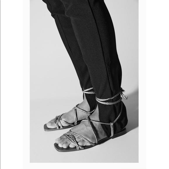 Zara low heel woven metallic sandals